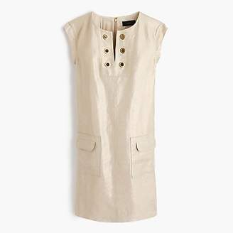 J.Crew Petite metallic linen shift dress with grommets