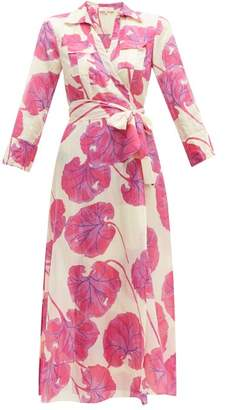 Diane von Furstenberg Floral Print Cotton Blend Voile Wrap Dress - Womens - Pink Multi