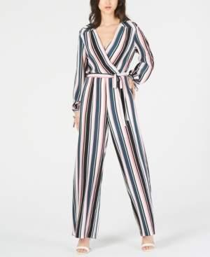 Monteau Petite Striped Wide-Leg Jumpsuit