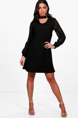 boohoo Pearl Mesh Sleeve Choker Dress