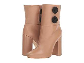 Chloé GOSSELIN Alva Nappa Leather Almond-Toe Tube Boot w/ Embroidered Button