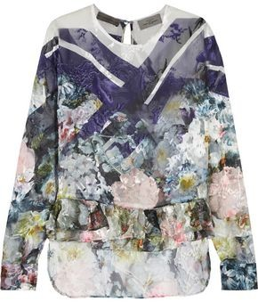 Preen by Thornton Bregazzi Floral-print Devore Silk-blend Top