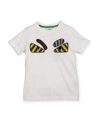 Fendi Boys' Short-Sleeve Embroidered Monster Eye T-Shirt, Size 6-8 $235 thestylecure.com