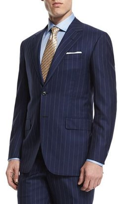 Oxxford Rope-Stripe Two-Piece Wool Suit, Blue $3,995 thestylecure.com