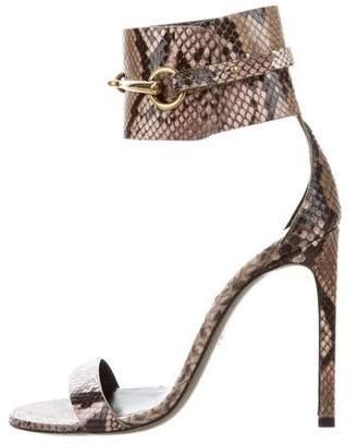 Gucci Horsebit Snakeskin Sandals