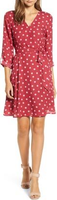 Bobeau Print Long Sleeve Roll-Tab Faux Wrap Dress