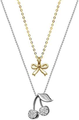 Alex Woo 14K Yellow Gold & Sterling Silver Mini Bow & Diamond Cherries Pendant Necklace - Set of 2 - 0.04 ctw