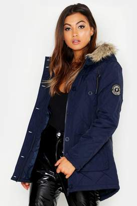 boohoo Quilted Parka With Faux Fur Hood