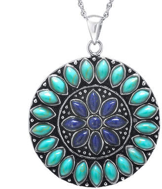 Lapis FINE JEWELRY Enhanced Turquoise & Dyed Blue Sterling Silver Medallion Pendant Necklace