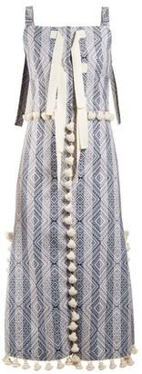 Altuzarra Villette Tassel Trimmed Diamond Jacquard Dress - Womens - Blue Print