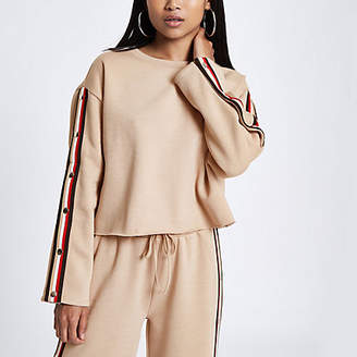 River Island Womens Petite beige tape popper side sweatshirt