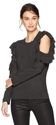 Max Studio Women's Cold Shoulder Ruffle Sleeve Sweater