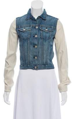 Rag & Bone Denim Jacket featuring Leather Sleeves