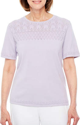 Alfred Dunner Roman Holiday Short Sleeve Crew Neck Layered Sweaters