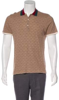 Gucci Web-Trimmed GG Polo Shirt
