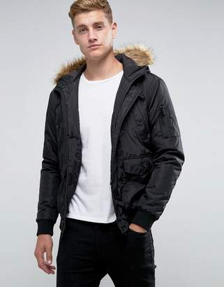 French Connection Short Padded Parka with Faux Fur Hood