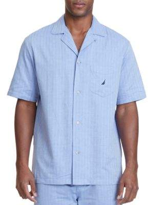 Nautica Herringbone Plaid Pajama Shirt