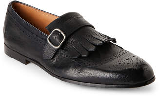 Doucal's Navy Leather Kiltie Loafers