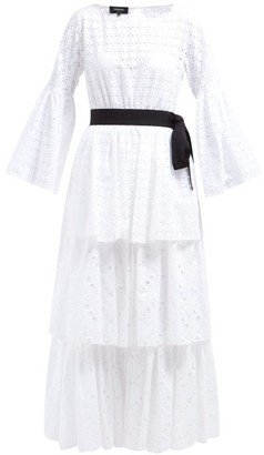 Rochas Tiered Cotton Broderie Anglaise Dress - Womens - White