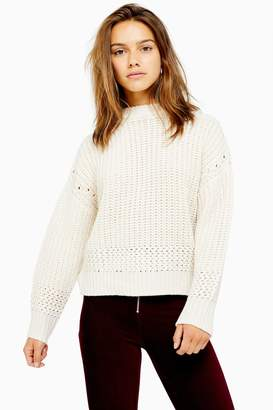 Topshop Womens Petite Ivory Recycled Crew Neck Jumper - Ivory
