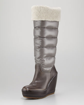 Moncler Locarno Quilted Wedge Boot