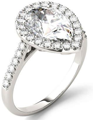 Charles & Colvard Moissanite Pear Halo Ring (2-5/8 ct. tw.) in 14k White Gold