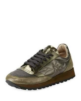 Brunello Cucinelli Metallic Lace-Up Platform Trainer Sneakers