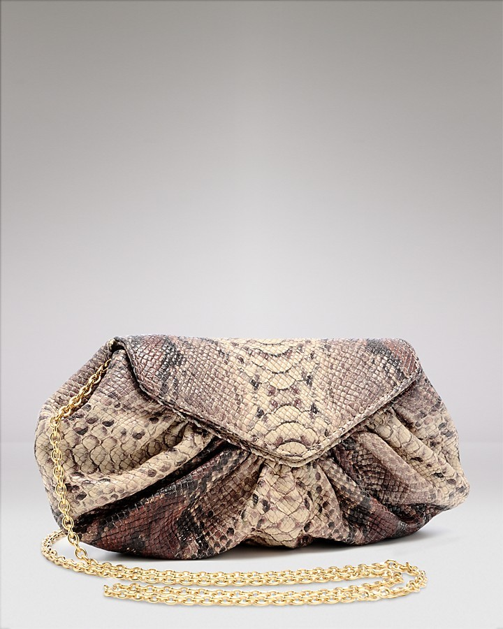 Lauren Merkin Diana Python-Embossed Leather Clutch