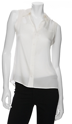 Rachel Zoe Semi Sheer Sleeveless Button Down Blouse