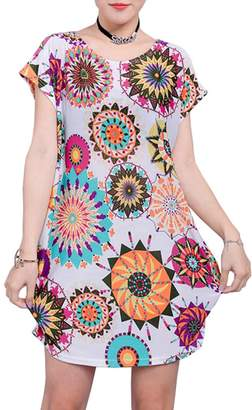 Uplife Women's Summer Short Sleeve Casual Floral Printed Loose Blouse Tops T-shirts ...