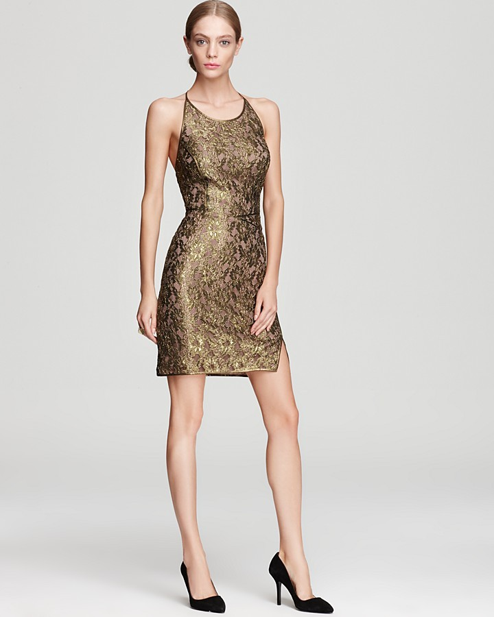 BCBGMAXAZRIA Racerback Dress - Tenya Metallic Lace