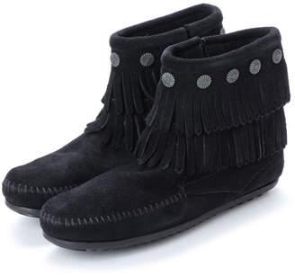 Minnetonka Double Fringe Side Zip Boots