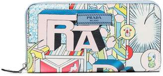 Prada Multicoloured Comics Print Leather Wallet