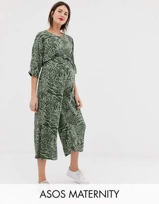 Asos DESIGN Maternity tie waist jumpsuit in animal print