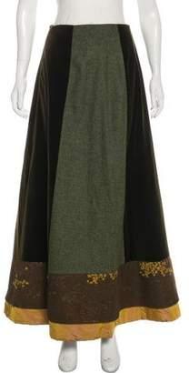 Kenzo Velvet-Paneled Maxi Skirt