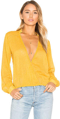 House of Harlow 1960 x REVOLVE Joli Blouse in Mustard $168 thestylecure.com