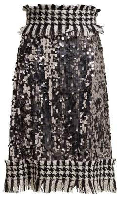 Dolce & Gabbana Sequin And Tweed Trim Midi Skirt - Womens - Dark Grey