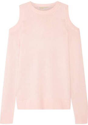 MICHAEL Michael Kors - Cold-shoulder Knitted Sweater - Baby pink $175 thestylecure.com
