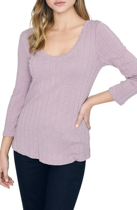 Sanctuary Ruby Ribbed Long Sleeve Cotton Blend Tee