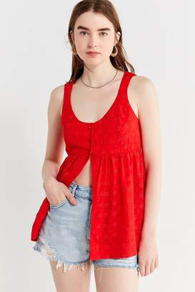 Urban Outfitters Angie Embroidered Eyelet Babydoll Tank Top