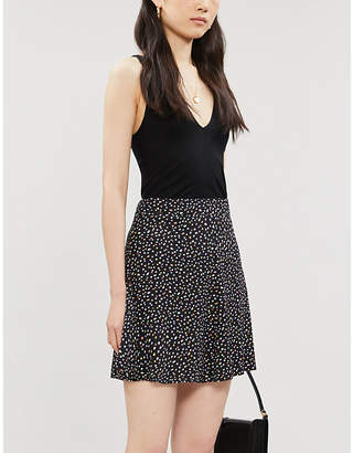 Reformation Flounce polka dot-print crepe mini skirt