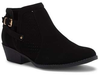 Top Moda Perforated Ankle Low Heel Bootie