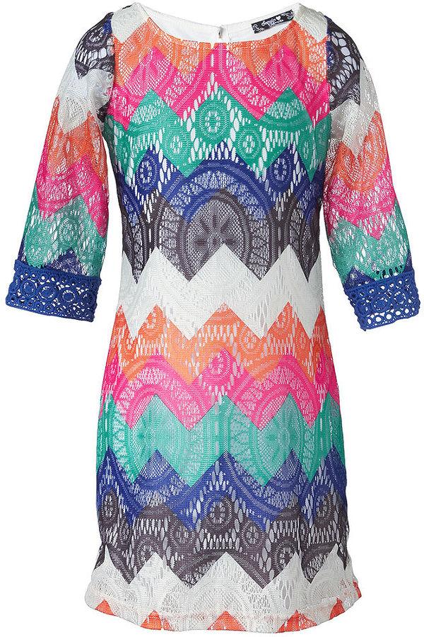 Sequin Hearts Girls Dress, Girls Zigzag Crochet Dress