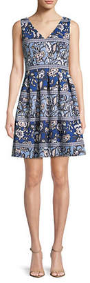 Vince Camuto Printed Sleeveless Fit--Flare Dress