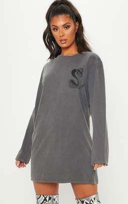 PrettyLittleThing Grey Acid Wash Snake Slogan Long Sleeve T Shirt Dress