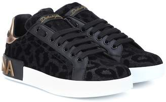 Dolce & Gabbana Leopard leather-trimmed sneakers