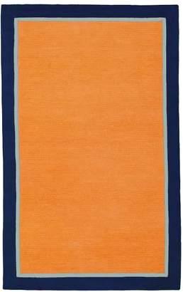 Pottery Barn Teen Capel Border Rug, 8x10, Orange/Light Gray/Navy