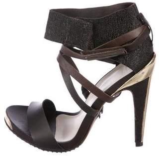 Herve Leger Leather Crossover Sandals