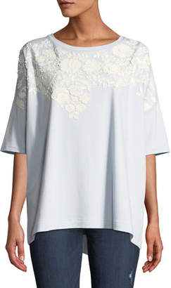 Joan Vass Relaxed Big Tee with Beaded Floral Applique, Petite