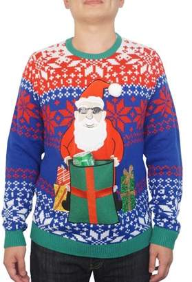 Holiday Men's Santa Drink Pocket Ugly Christmas Sweater, Up to size 2XL
